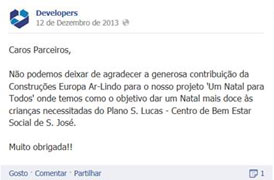 .: Europa Ar-Lindo Açores donates toys to the Developers community.